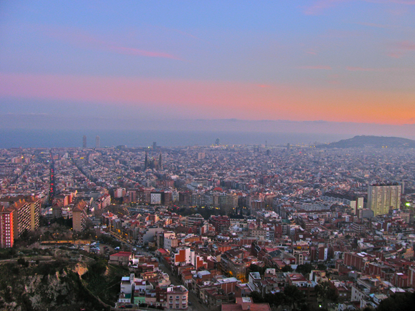 view of Barcelona sunset from Turo de la Rovira
