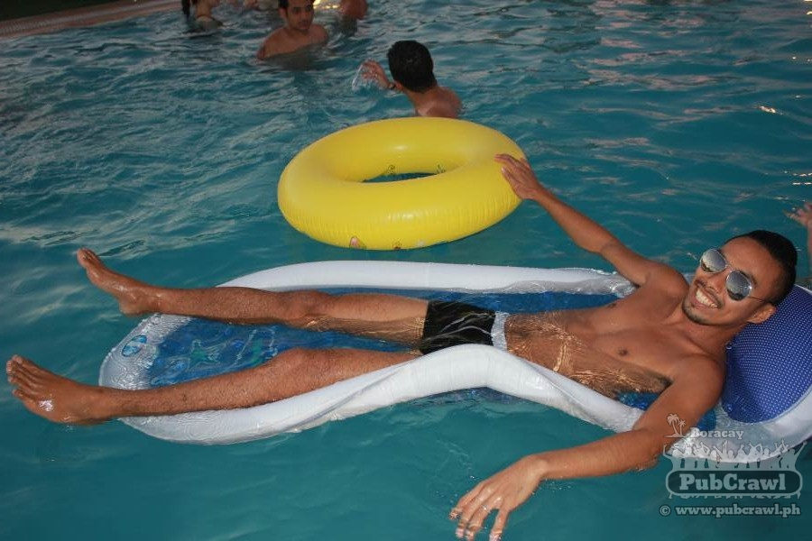 Me on a pool party with Boracay PubCrawl; my beer money and keys are in the secret pockets ;P